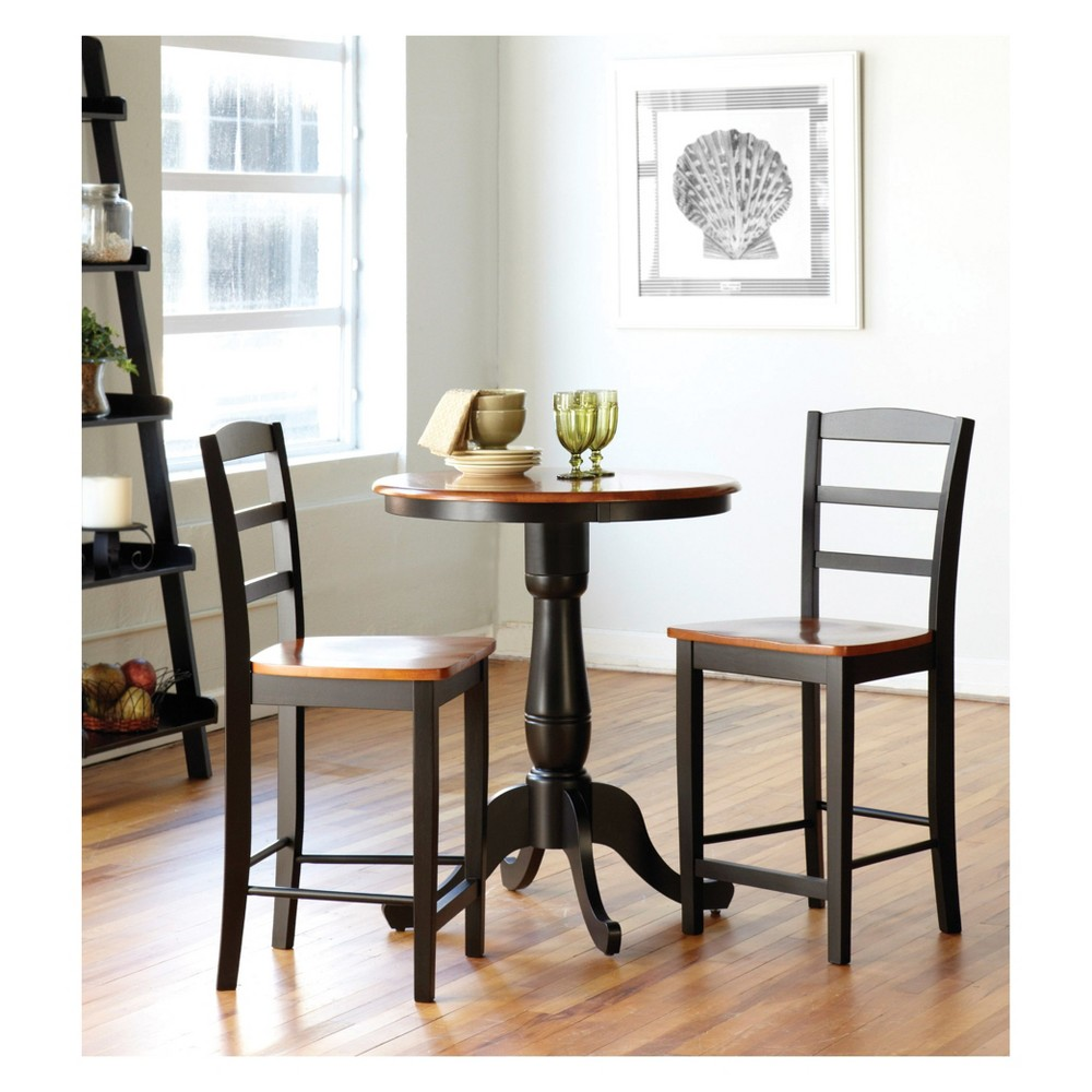 30 Set of 3 Round Dining Table with 2 Madrid Chairs Black/Red Set - International Concepts