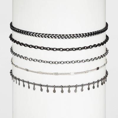 Chain Choker Necklace Set 5pc - Wild Fable™ Black/Silver - Wild Fable™