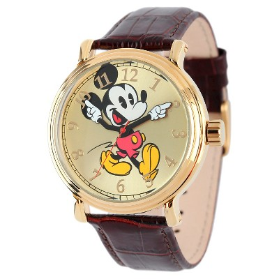 Men's Disney Mickey Mouse Shinny Vintage Articulating Watch with Alloy Case - Brown
