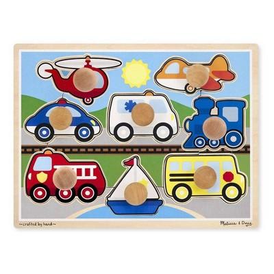 Melissa & Doug Vehicles Jumbo Knob Wooden Puzzle (8pc)