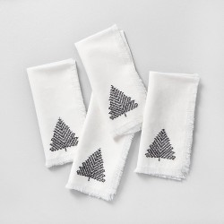 4pk Napkin Set Sour Cream with Black Embroidered Tree - Hearth & Hand™ with Magnolia