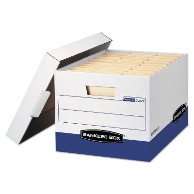 Bankers Box R-KIVE Max Storage Box Letter/Legal Locking Lid White/Blue 4/Carton 0724303