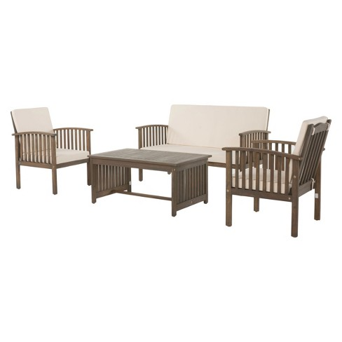 Carolina 4pc Acacia Wood Chat Set Gray Christopher Knight Home