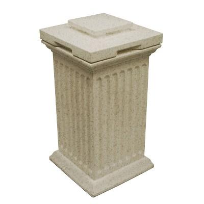 Good Ideas Savannah Outdoor Column 30 Gallon Polyethylene Storage and Waste Bin, Sandstone