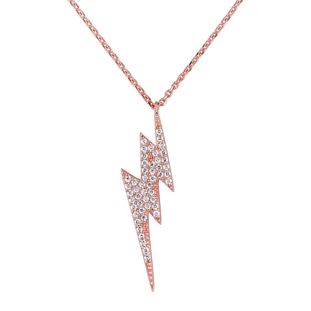 0.49 CT. T.W. Cubic Zirconia Lightning Necklace in Pink Plated Sterling Silver - 18 - White