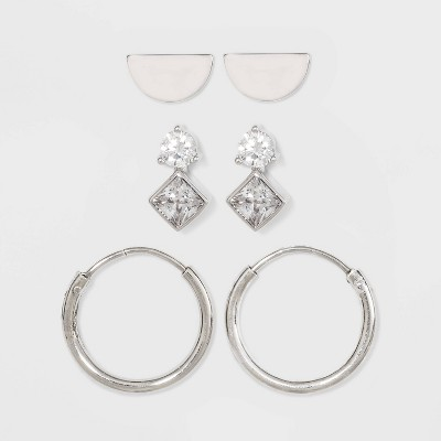 Sterling Silver with Cubic Zirconia Half Circle Modern and Endless Hoop Earring Set 3pc - A New Day™ Silver