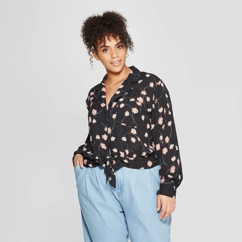 Women's Plus Size Floral Print Long Sleeve V-Neck Knotted Waist Button-Down Shirt - Who What Wear™ Black X - image 1 of 3