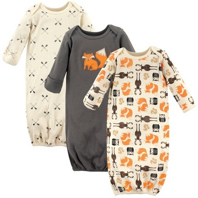 Hudson Baby Infant Boy Cotton Long-Sleeve Gowns 3pk, Forest, 0-6 Months