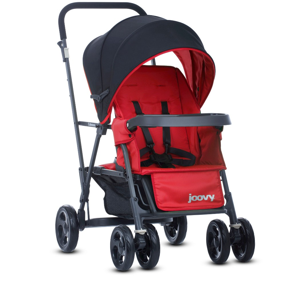 Image of Joovy Caboose Graphite Stand On Tandem Stroller - Red