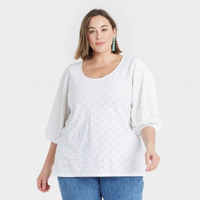 Women's Plus Size Knit Eyelet Top - Ava & Viv™