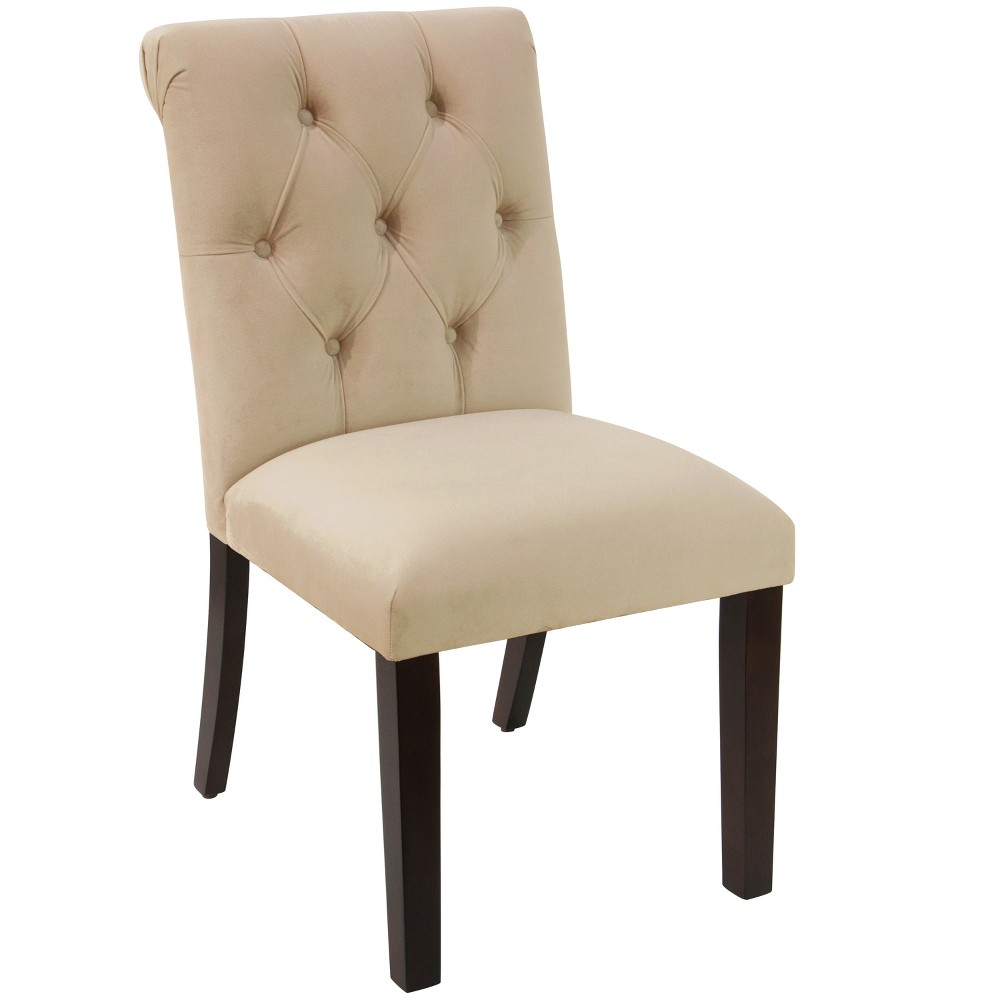 Anita Tufted Rollback Dining Chair Ivory Velvet - Cloth & Co.