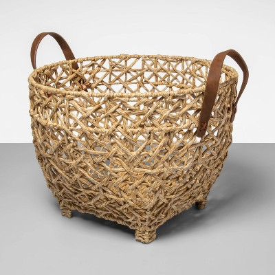 Open Weave Basket With Feet And Leather Handle - Opalhouse™
