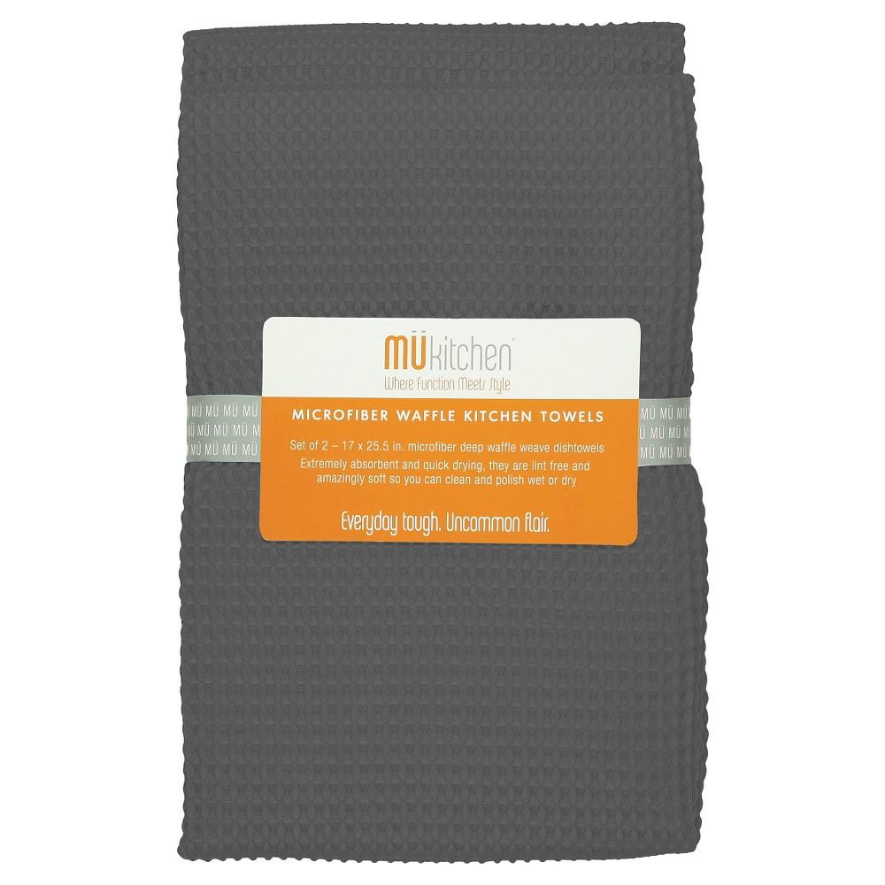 Waffle Microfiber Kitchen Towel (Set Of 2) - Mu Kitchen, Grey