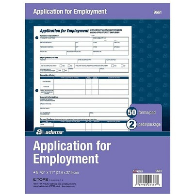 Adams Employment Applications 50/Pad 2 Pads/Pack (ABF 9661) 195990