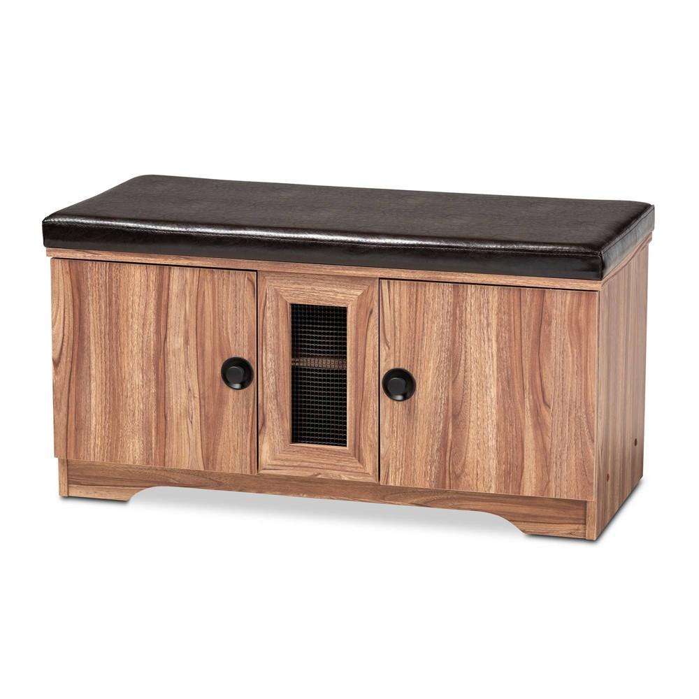 2 Door Valina Faux Leather Wood Shoe Storage Bench Brown - Baxton Studio