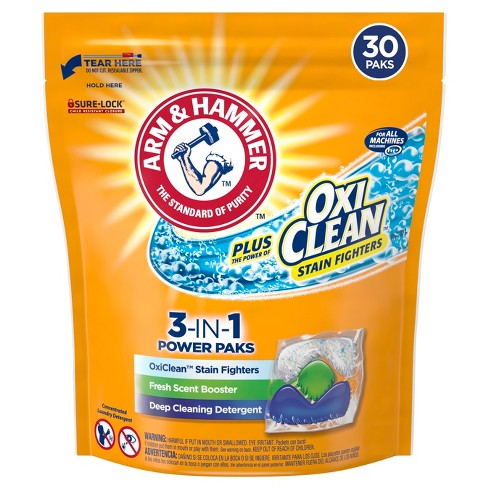 Arm & Hammer Plus OxiClean 3 in 1 Stain Fighters Laundry Detergent - 30ct - image 1 of 4