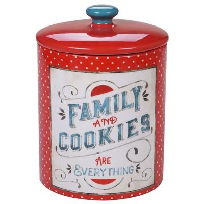 128oz Earthenware Country Fresh Cookie Jar Red - Certified International