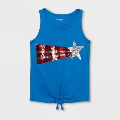Girls' Star Flip Sequin Tank Top - Cat & Jack™ Blue