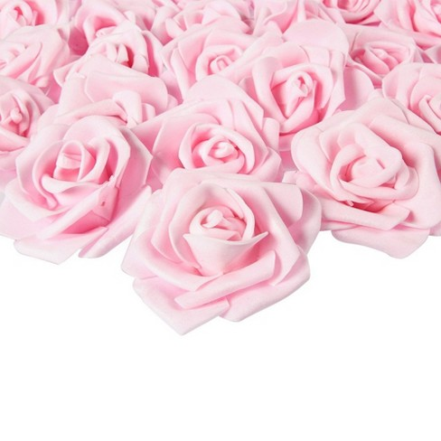 Juvale Rose Flower Heads - 100-Pack Artificial Roses, Perfect Wedding Decorations, Baby Showers, Crafts - Light Pink, 3 x 1.25 x 3 inches - image 1 of 3