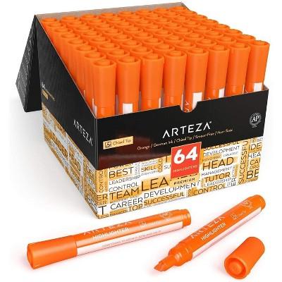 Arteza Highlighters, Wide Chisel Tip, Orange - Set of 64