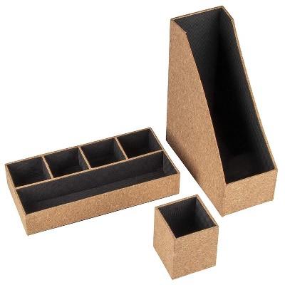 Juvale Cork Desktop Stationery Accessories Set of 3, Desk Organizer with Pencil Holder & File Holder