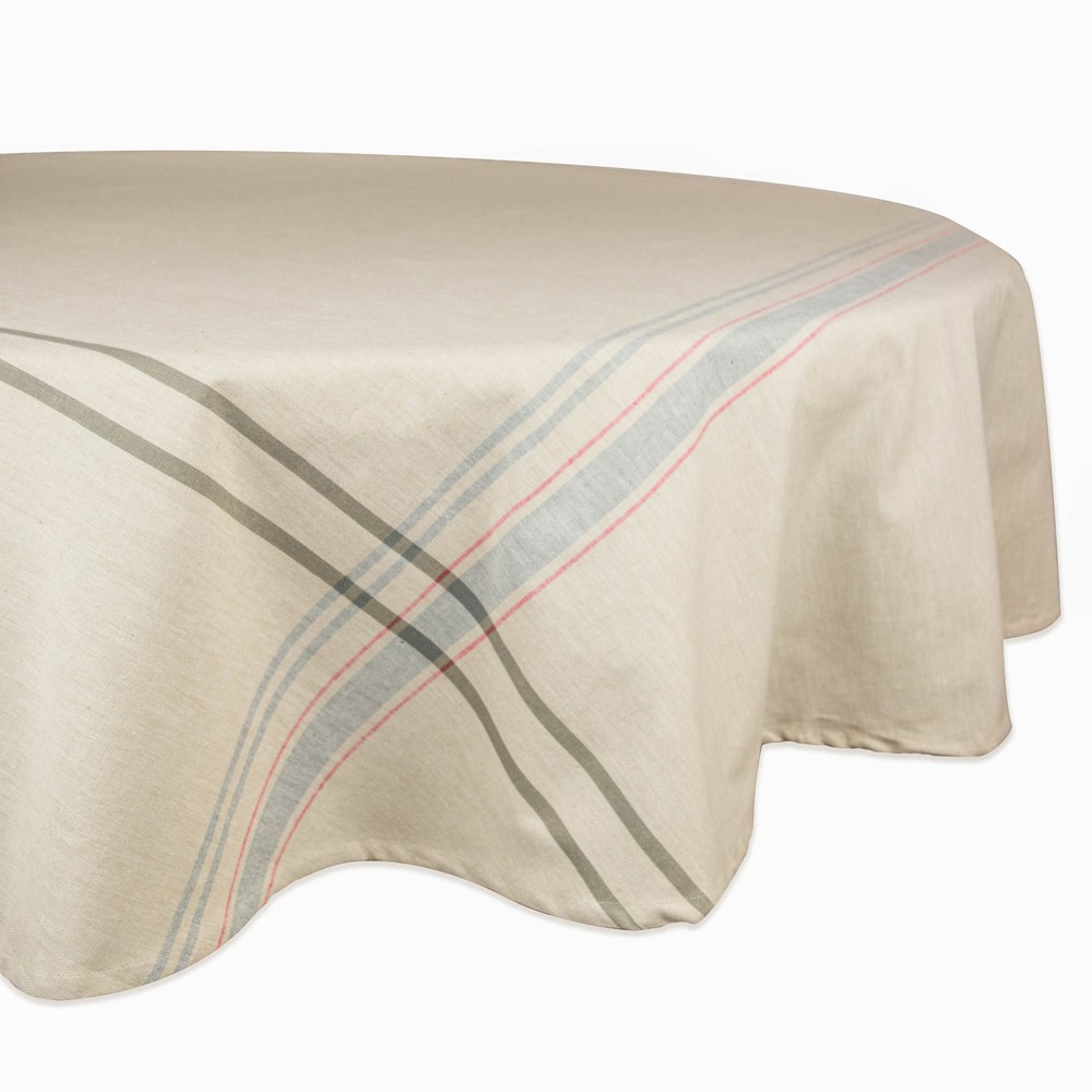 70R Nautical French Stripe Tablecloth Gray - Design Imports