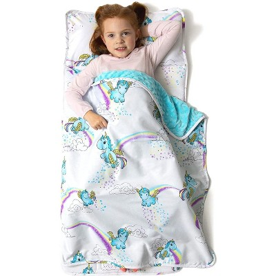 JumpOff Jo Toddler Nap Mat, Children's Sleeping Bag with Removable Pillow for Preschool, Daycare, and Sleepovers, 43 x 21 Inches, Unicorn Pixie Dust