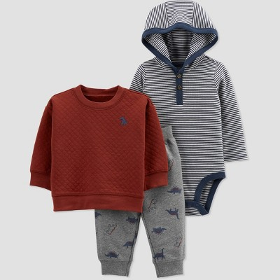Baby Boys' Dino Pullover Top & Bottom Set - Just One You® made by carter's Maroon/Gray/Blue 12M