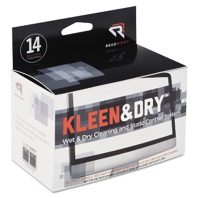 Read Right Two Step Screen Kleen Wet and Dry Cleaning Wipes 5 x 5 14/Box RR1205