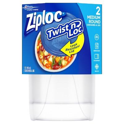 Ziploc Medium 4 Cup Twist'n Loc Round Container - 2ct