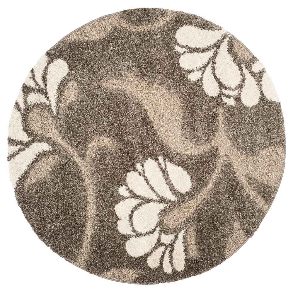 Smoke/Beige (Grey/Beige) Botanical Loomed Round Area Rug - (6'7 Round) - Safavieh