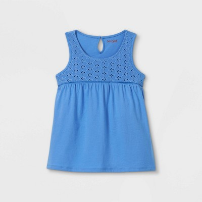 Girls' Knit Eyelet Tank Top - Cat & Jack™ Blue