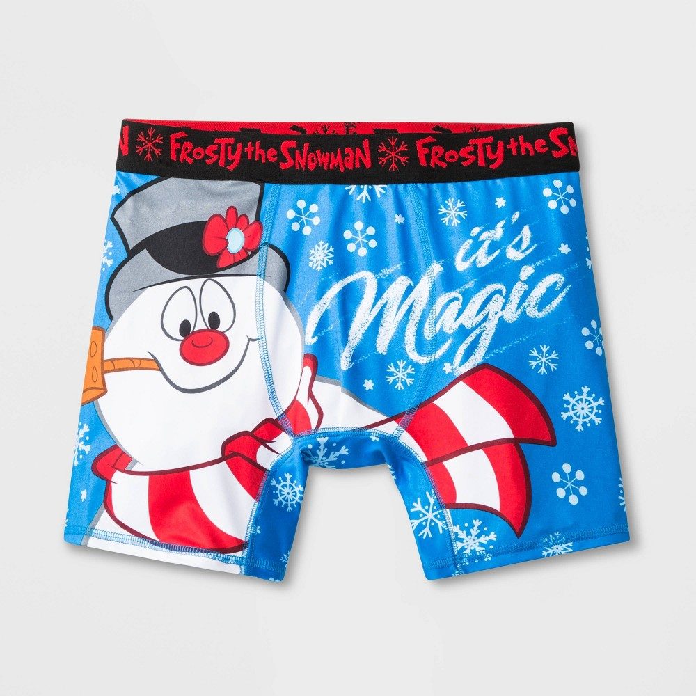 Image of Men's Frosty the Snowman Boxer Briefs - Blue S, Size: Small