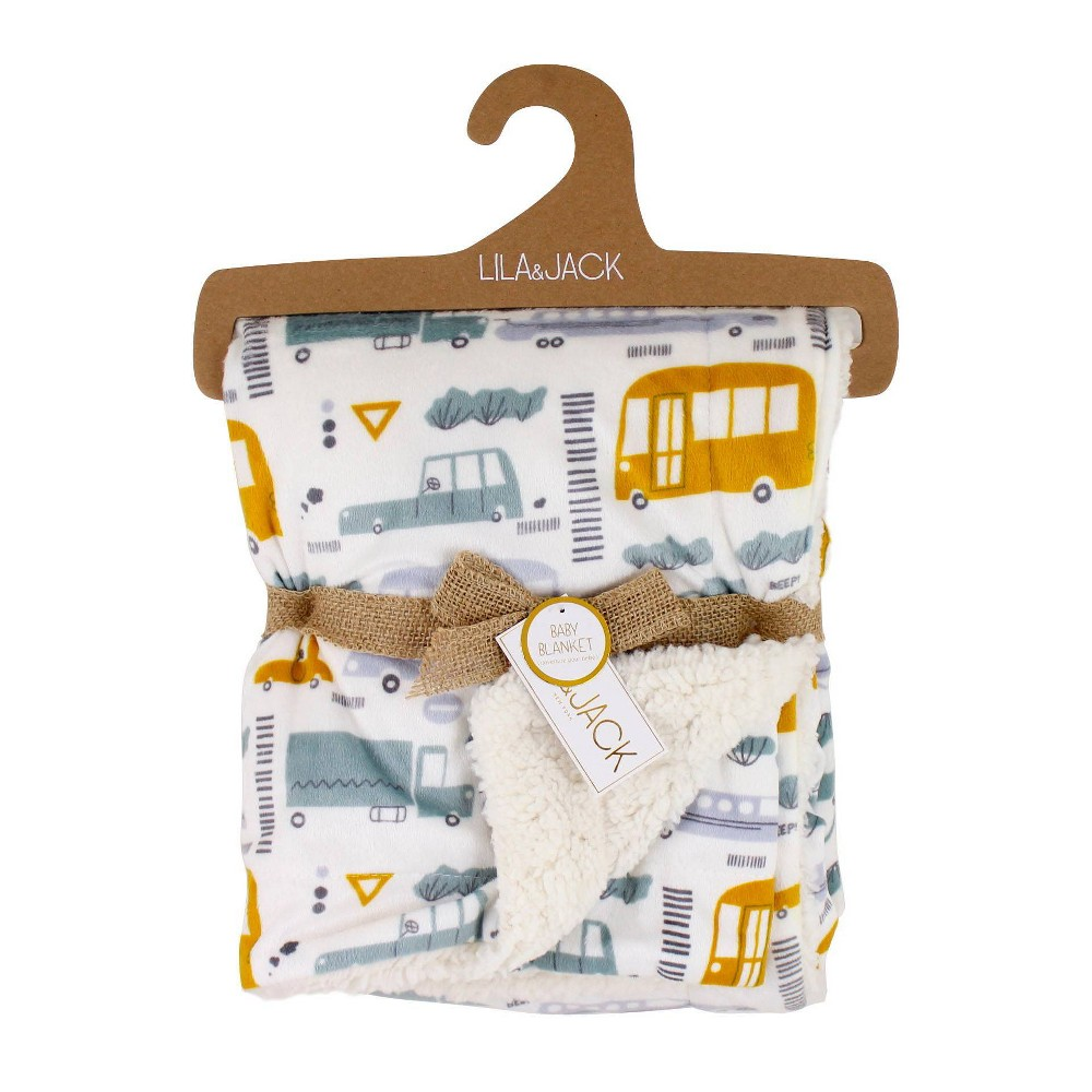 Image of Lila and Jack Baby Blanket Transportation Print Printed Mink with Natural Sherpa Backing Kids Throw