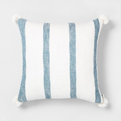 "18"" x 18"" Bold Stripes Throw Pillow Blue - Hearth & Hand™ with Magnolia"