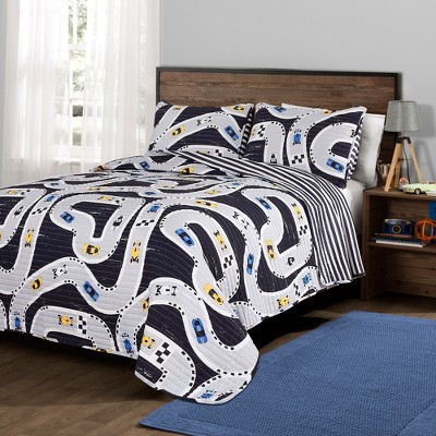 Car Tracks Quilt set Navy - Lush Décor