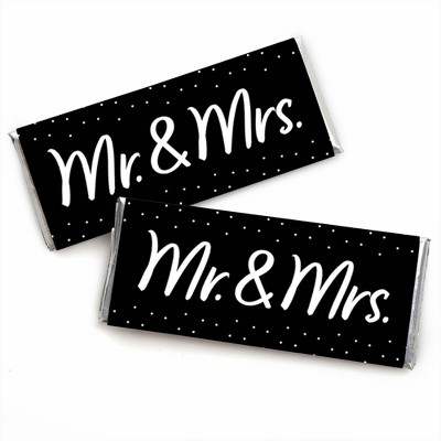Big Dot of Happiness Mr. and Mrs. - Candy Bar Wrapper Black and White Wedding or Bridal Shower Favors - Set of 24