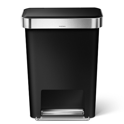 simplehuman 45L Rectangular Step Trash Can Black