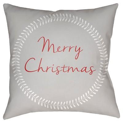 Gray Christmas Card Throw Pillow 18 x18  - Surya