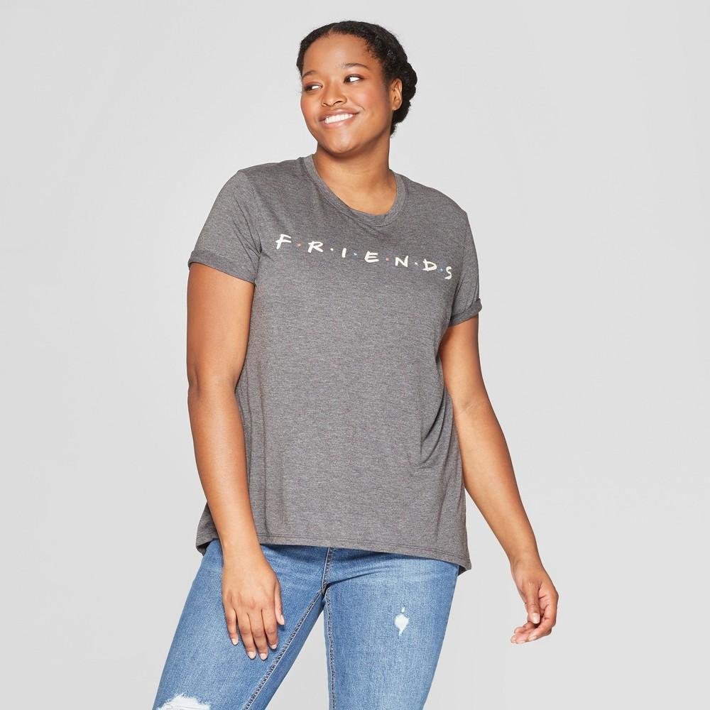 Women's Friends Plus Size Short Sleeve T-Shirt - (Juniors') - Charcoal 2X, Gray