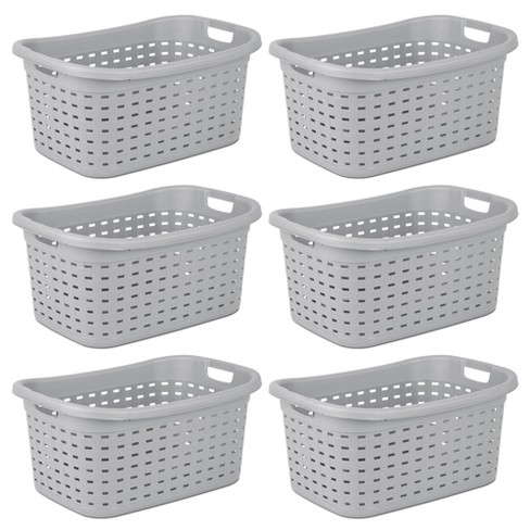 Sterilite Weave Laundry Basket With Wicker Pattern, Cement (6 Pack) | 12756A06 - image 1 of 3