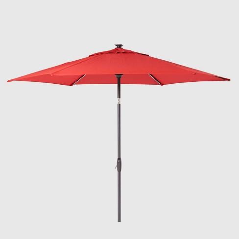 Solar Patio Umbrella Red Black Pole