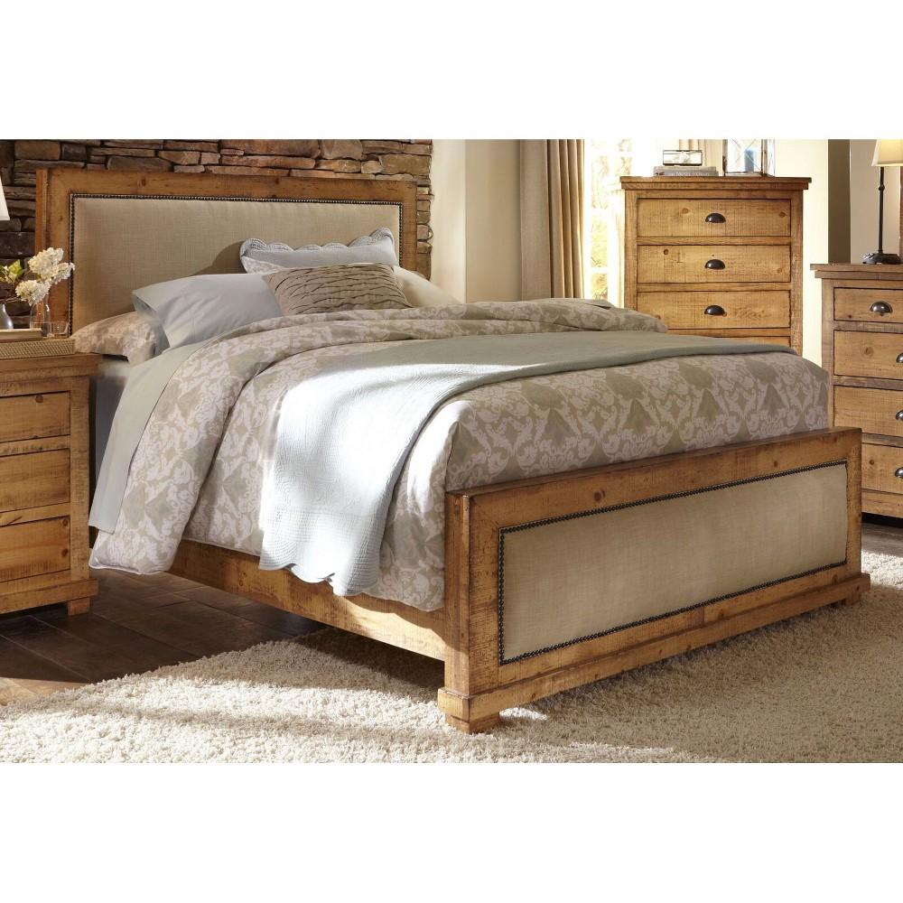 Queen Willow Upholstered Complete Bed Distressed Pine - Progressive