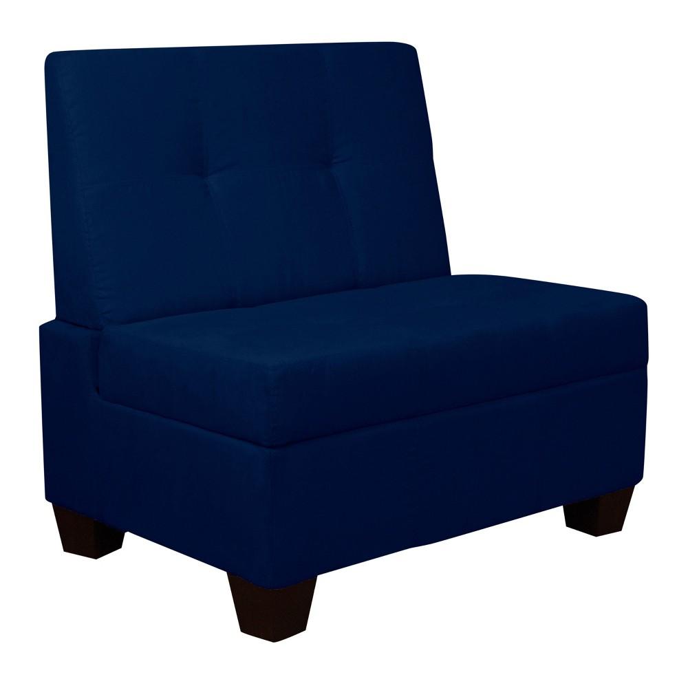 Valet Tufted Padded Hinged Storage Chair Suede Dark Blue 36 Wide - Sit N Sleep