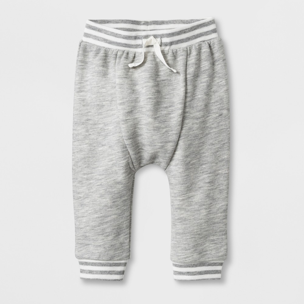 Baby Boys' French Terry Jogger Pants - Cat & Jack Light Heather Gray 6-9M
