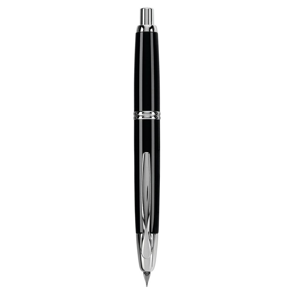 Image of 1ct Pilot Vanishing Point Retractable Fountain Pen Fine Point 0.7mm Black Rhodium Barrel Black