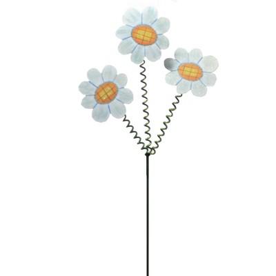 "Home & Garden 32.0"" Crazy Three Daisy Stake Spiral Stem Round Top Collection  -  Decorative Garden Stakes"