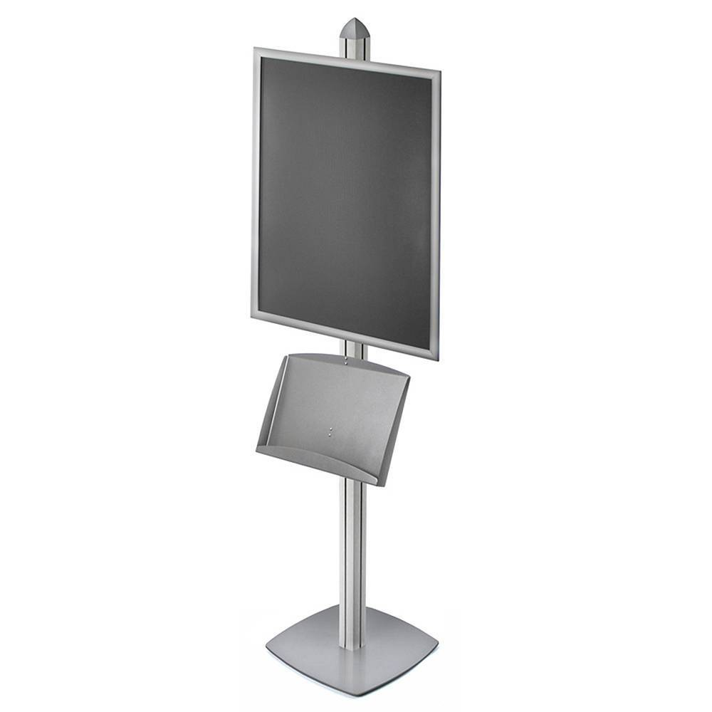 "Image of ""Azar Displays 22"""" X 28"""" Snap Frame Sky Tower Display with Steel Shelf, Silver"""
