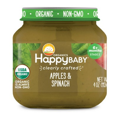 HappyBaby Clearly Crafted Apples & Spinach Baby Food Jar - 4oz