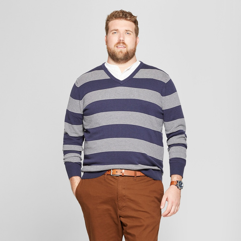 Men's Big & Tall Striped Crew Neck Sweater - Goodfellow & Co Navy Heather 4XB, Blue